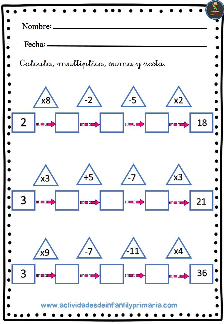 ejercicios de operaciones basicas para primaria pdf