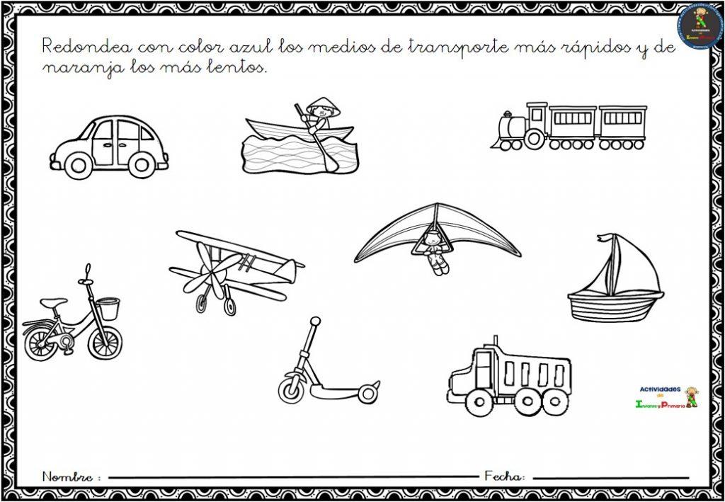 Transportes Por Tierra Para Colorear: Fichas Para Trabajar Los Medios De Transporte En Infantil (5